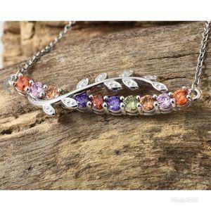 Jewelry - Simulated Multi Color Diamond Vine Bar Necklace